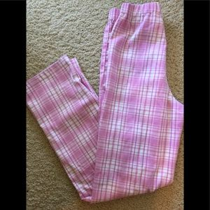 Brandy Melville pink/white plaid Tilden pants